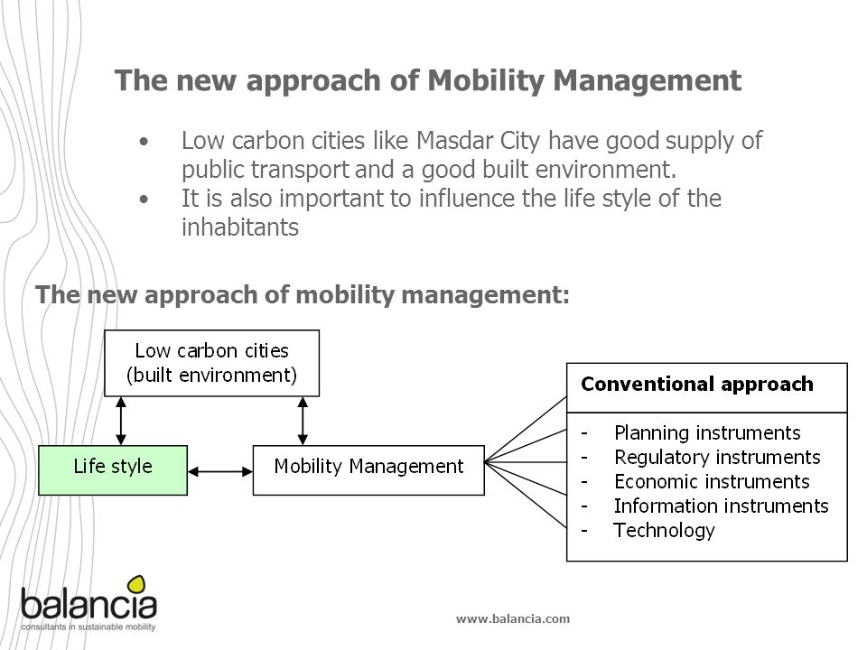 www.balancia.com Low carbon cities like Masdar City have good supply of public transport and a good built environment. It is also important to influen