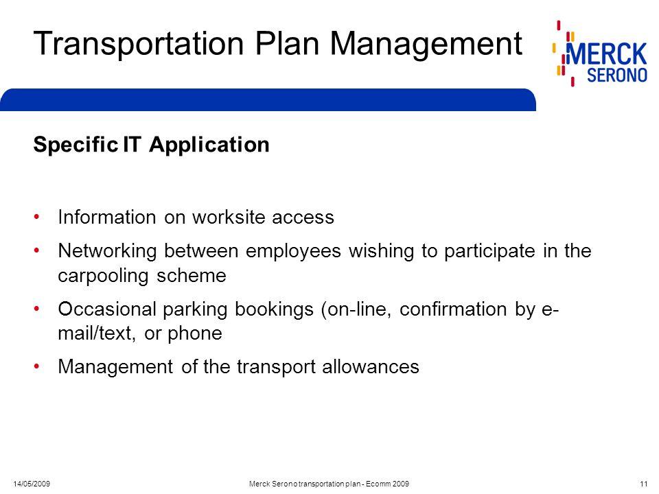 14/05/2009Merck Serono transportation plan - Ecomm 2009 11 Transportation Plan Management Specific IT Application Information on worksite access Netwo