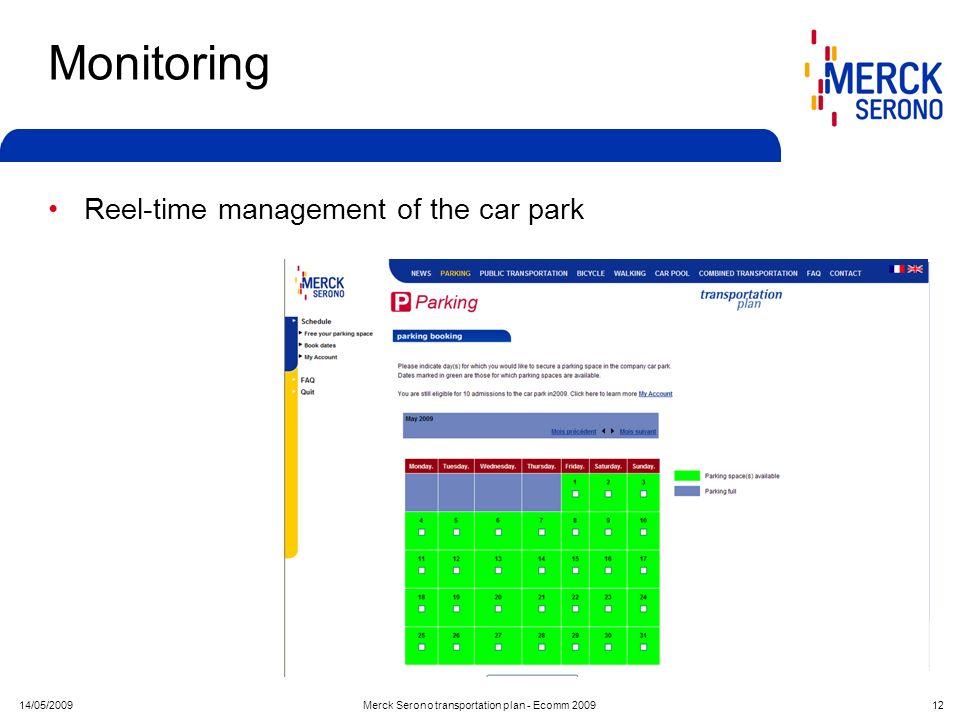 14/05/2009Merck Serono transportation plan - Ecomm 2009 12 Monitoring Reel-time management of the car park