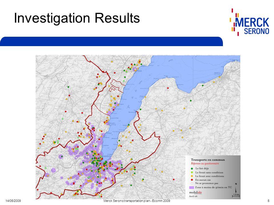14/05/2009Merck Serono transportation plan - Ecomm 2009 6 Investigation Results