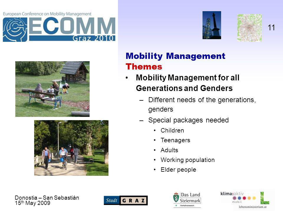 Donostia – San Sebastián 15 th May 2009 11 Mobility Management Themes Mobility Management for all Generations and Genders –Different needs of the generations, genders –Special packages needed Children Teenagers Adults Working population Elder people