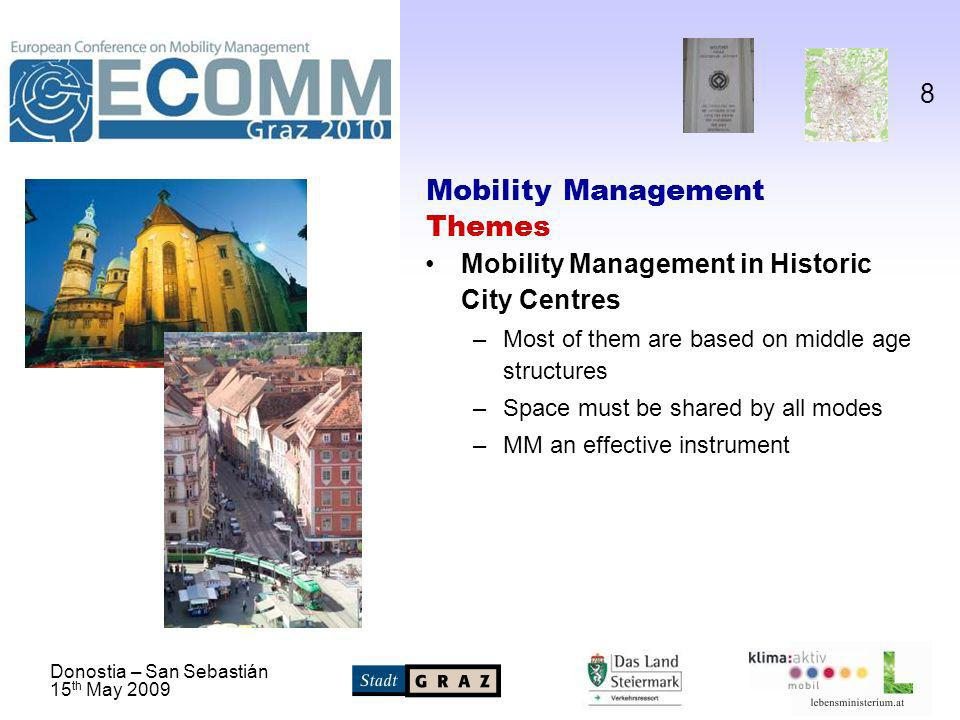 Donostia – San Sebastián 15 th May Mobility Management Themes Mobility Management in Historic City Centres –Most of them are based on middle age structures –Space must be shared by all modes –MM an effective instrument