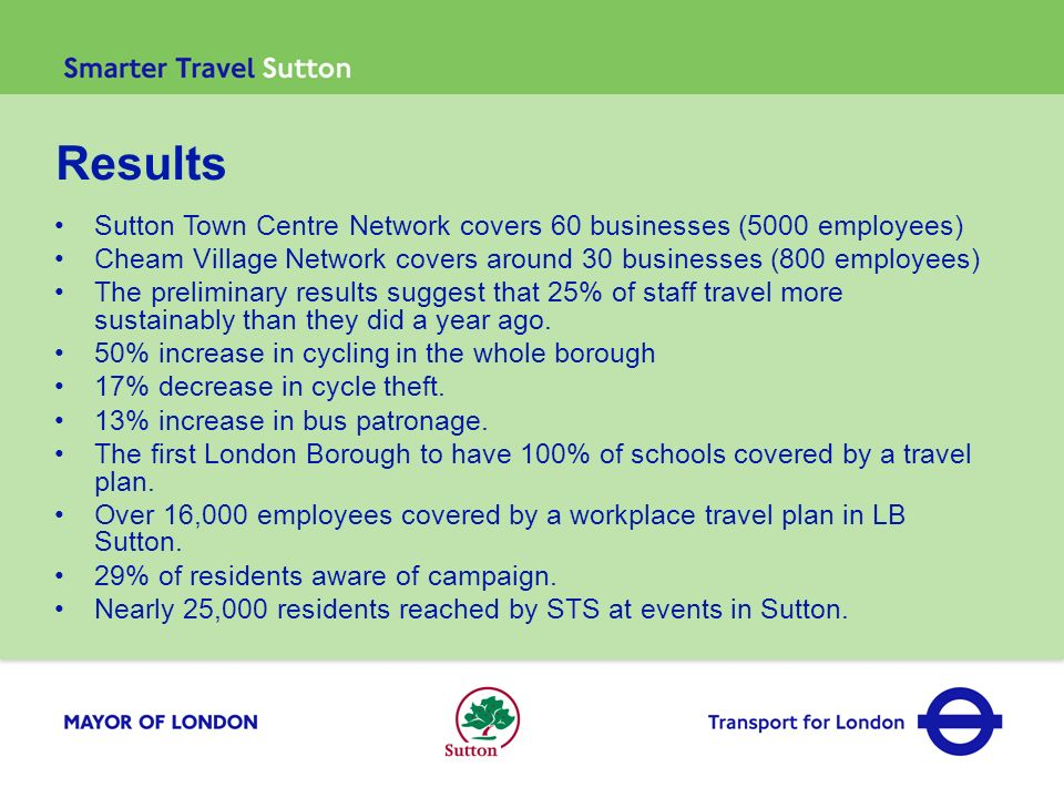 Results Sutton Town Centre Network covers 60 businesses (5000 employees) Cheam Village Network covers around 30 businesses (800 employees) The prelimi