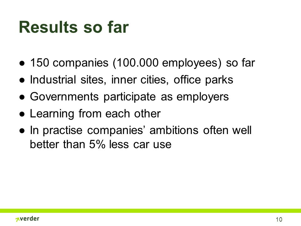 10 Results so far 150 companies (100.000 employees) so far Industrial sites, inner cities, office parks Governments participate as employers Learning from each other In practise companies ambitions often well better than 5% less car use