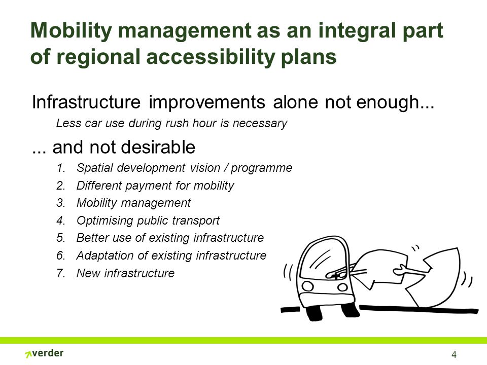 4 Mobility management as an integral part of regional accessibility plans Infrastructure improvements alone not enough...