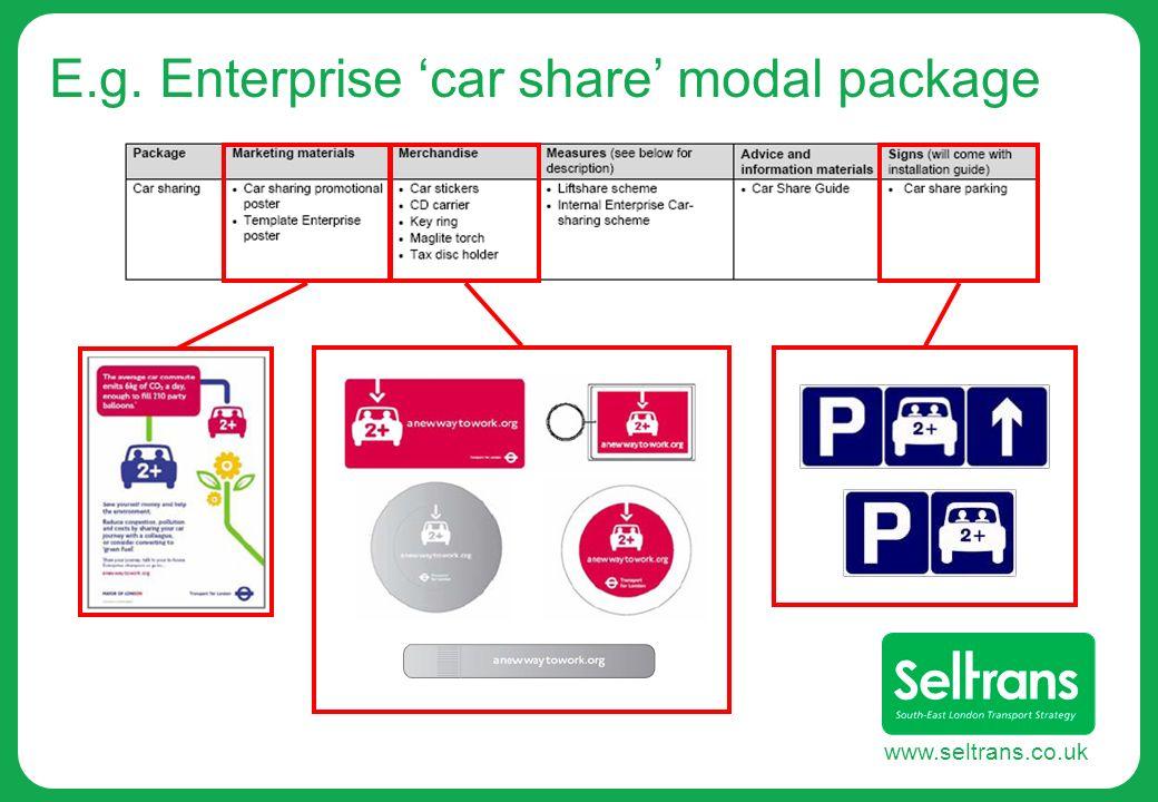 www.seltrans.co.uk E.g. Enterprise car share modal package