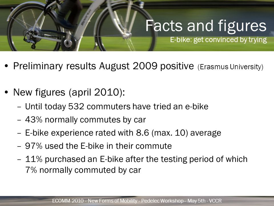 Facts and figures E-bike: get convinced by trying ECOMM 2010 - New Forms of Mobility - Pedelec Workshop– May 5th - VCCR Preliminary results August 2009 positive (Erasmus University) New figures (april 2010): –Until today 532 commuters have tried an e-bike –43% normally commutes by car –E-bike experience rated with 8.6 (max.