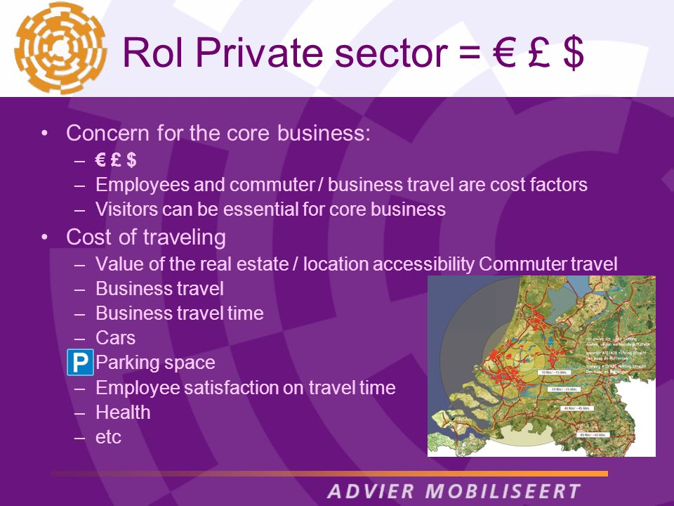 Rol Private sector = £ $ Concern for the core business: – £ $ –Employees and commuter / business travel are cost factors –Visitors can be essential fo