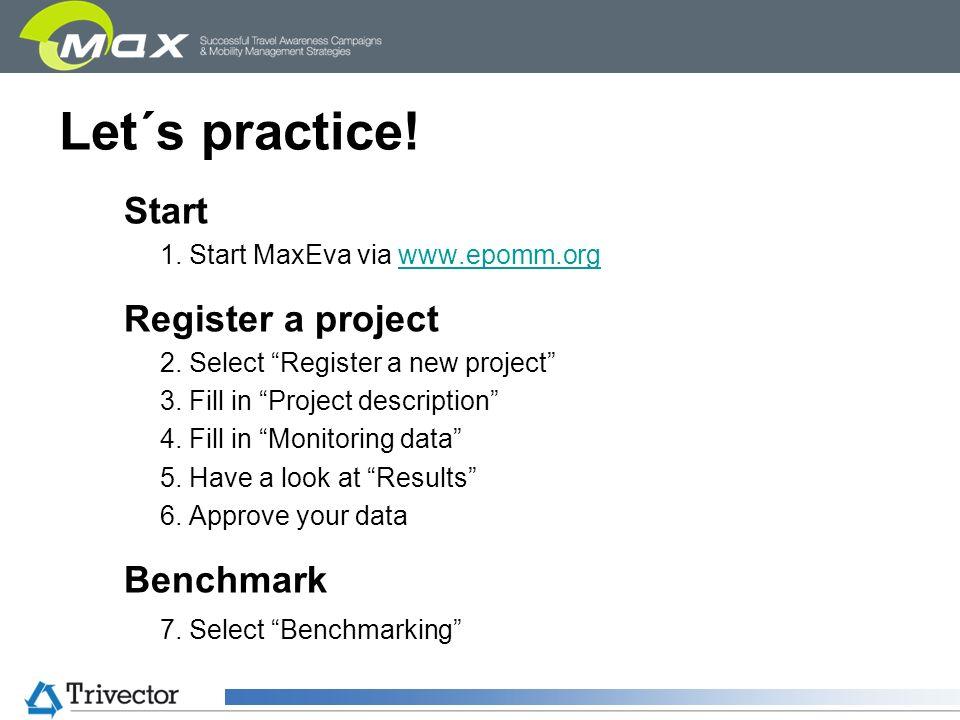 Let´s practice! Start 1. Start MaxEva via www.epomm.orgwww.epomm.org Register a project 2. Select Register a new project 3. Fill in Project descriptio