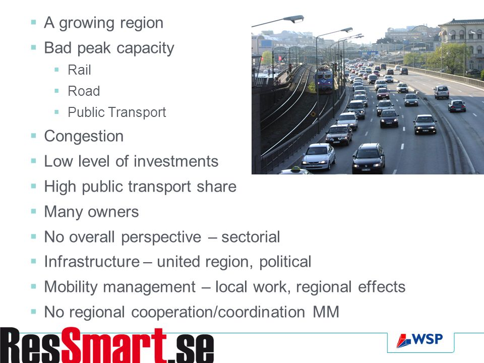 A growing region Bad peak capacity Rail Road Public Transport Congestion Low level of investments High public transport share Many owners No overall perspective – sectorial Infrastructure – united region, political Mobility management – local work, regional effects No regional cooperation/coordination MM