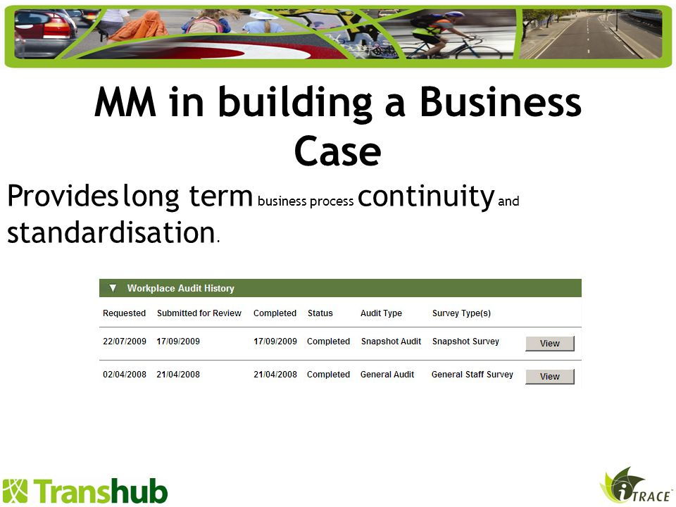 MM in building a Business Case Provides long term business process continuity and standardisation.