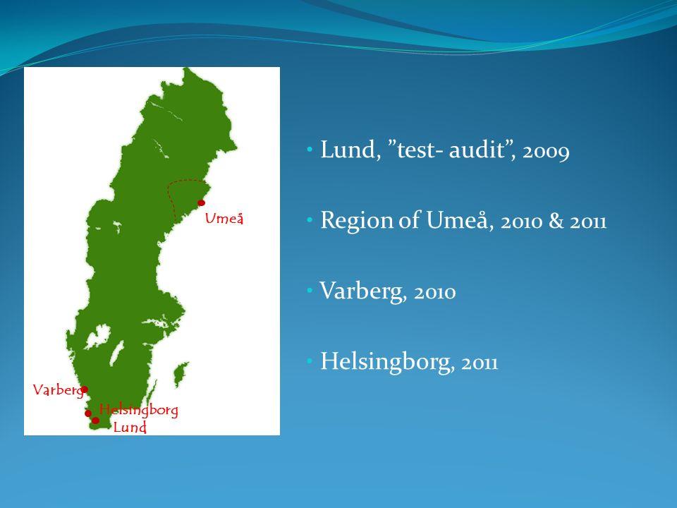 Lund, test- audit, 2009 Region of Umeå, 2010 & 2011 Varberg, 2010 Helsingborg, 2011 Lund Helsingborg Varberg Umeå
