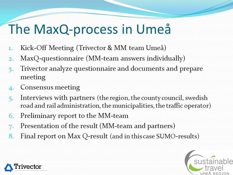 The MaxQ-process in Umeå 1.Kick-Off Meeting (Trivector & MM team Umeå) 2.