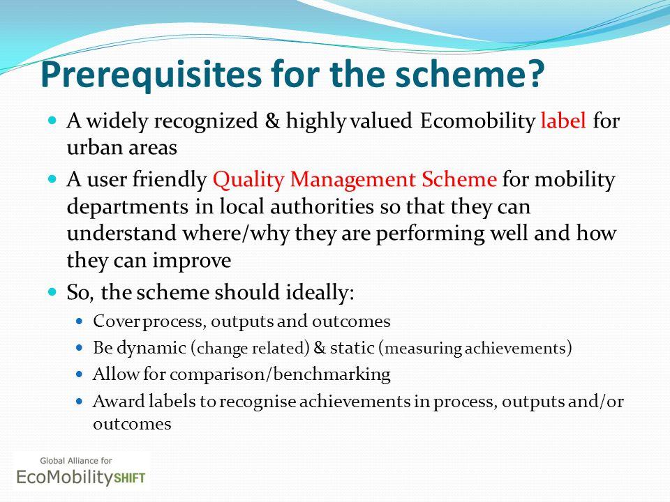Prerequisites for the scheme.