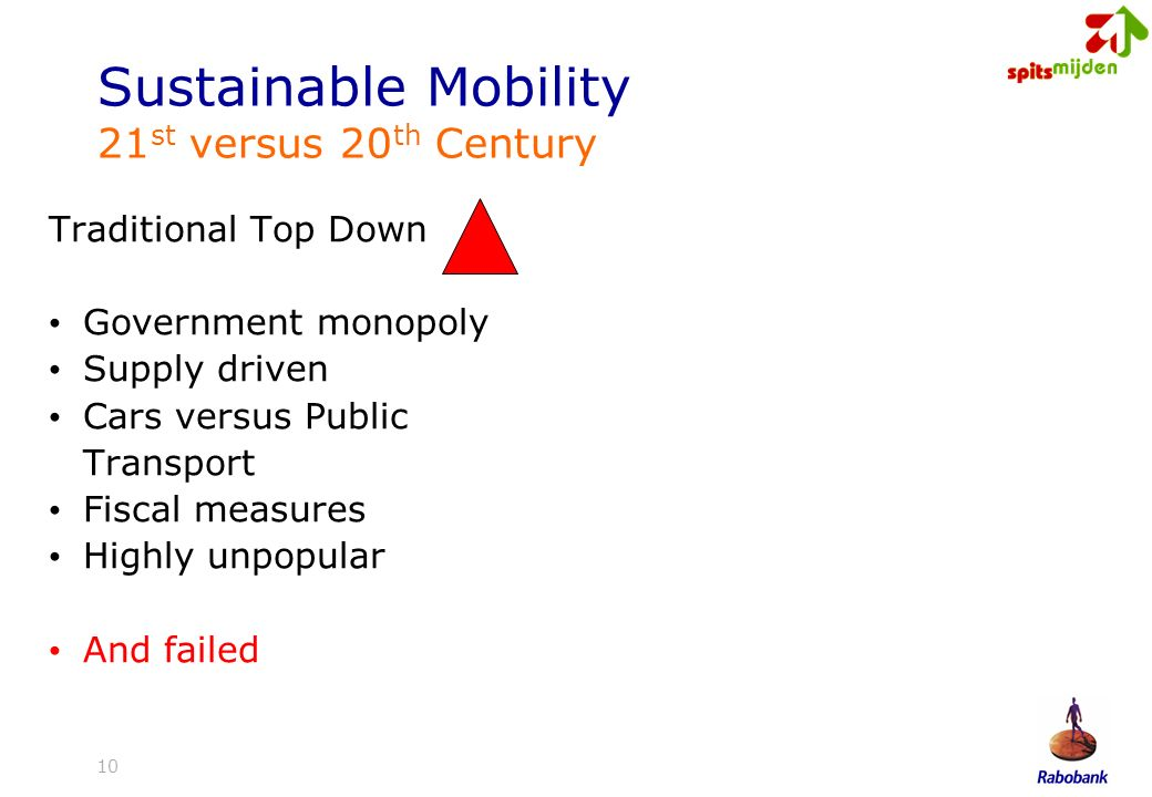10 Sustainable Mobility 21 st versus 20 th Century Traditional Top Down Government monopoly Supply driven Cars versus Public Transport Fiscal measures