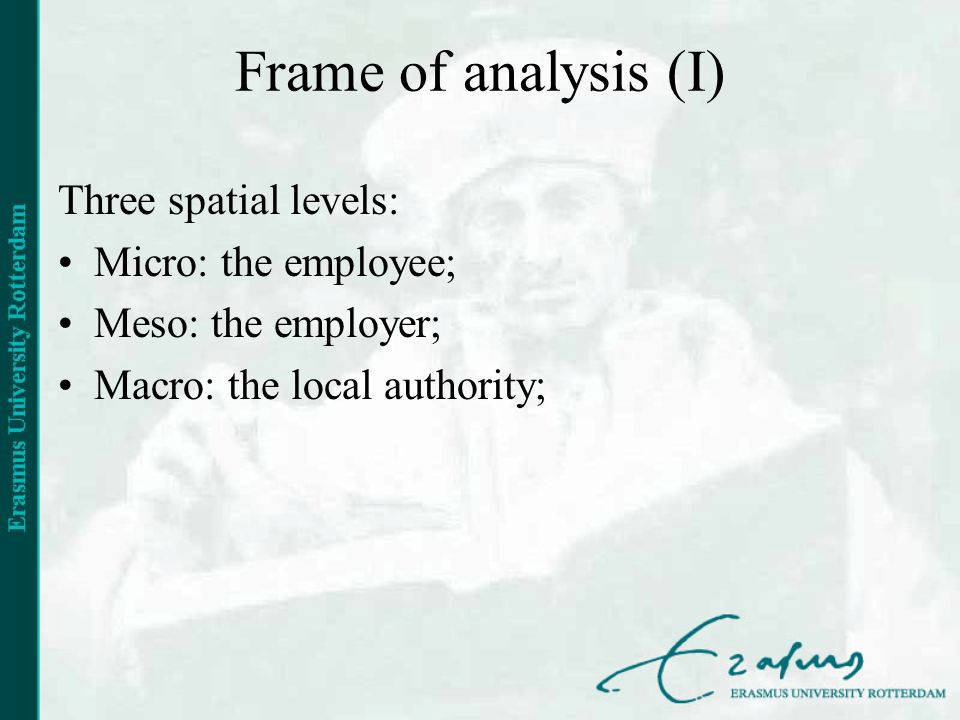 Frame of analysis (I) Three spatial levels: Micro: the employee; Meso: the employer; Macro: the local authority;