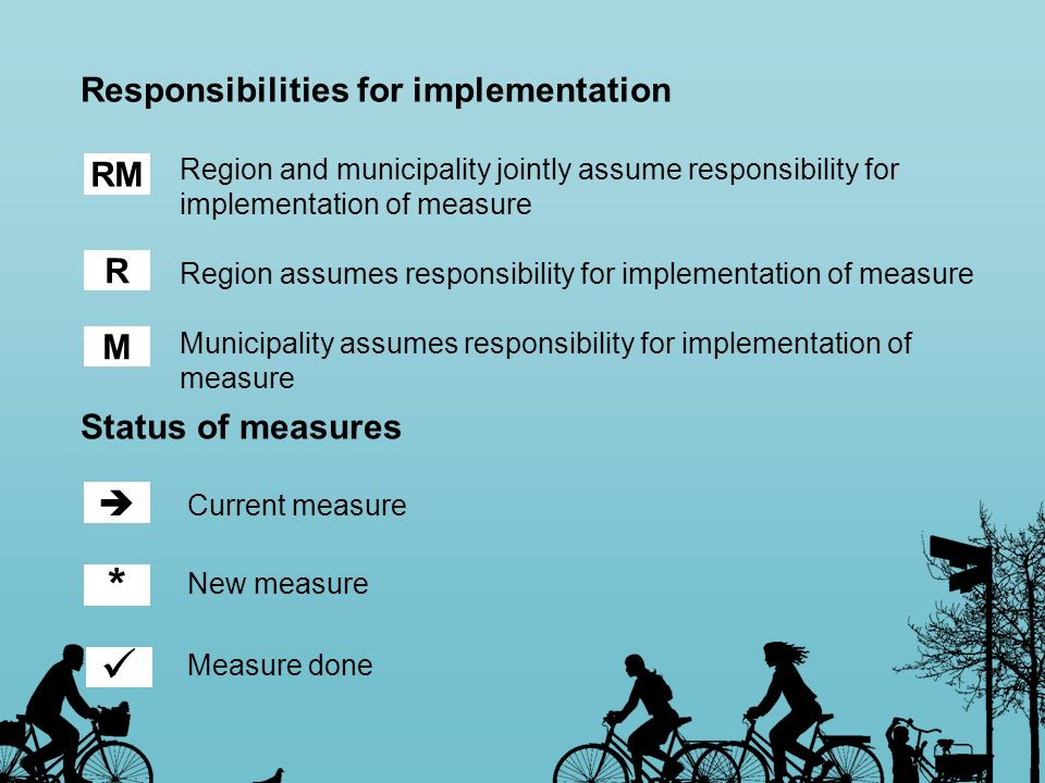 Responsibilities for implementation Region and municipality jointly assume responsibility for implementation of measure Region assumes responsibility
