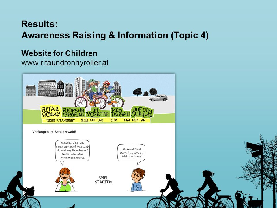 Results: Awareness Raising & Information (Topic 4) Website for Children www.ritaundronnyroller.at
