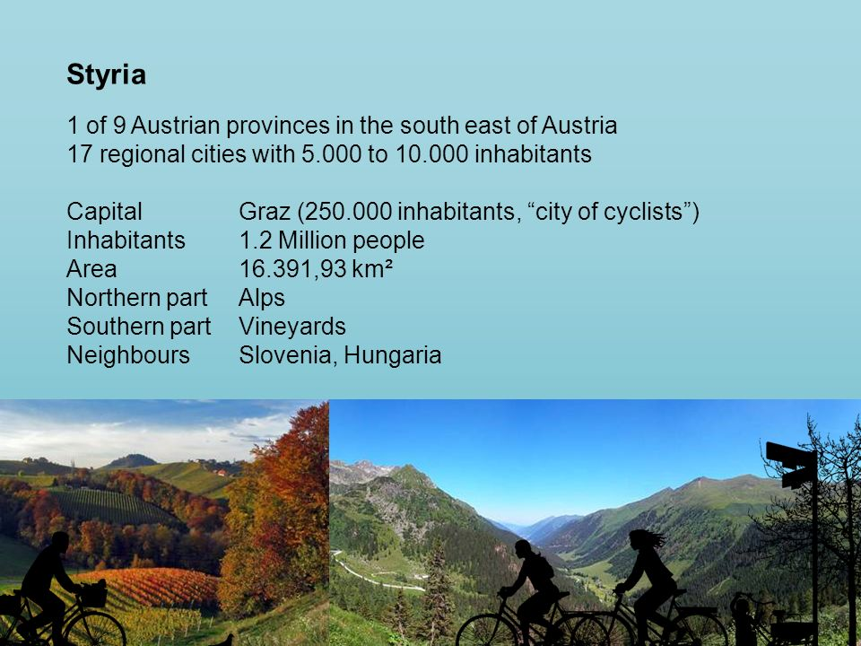 Styria 1 of 9 Austrian provinces in the south east of Austria 17 regional cities with 5.000 to 10.000 inhabitants CapitalGraz (250.000 inhabitants, city of cyclists) Inhabitants1.2 Million people Area16.391,93 km² Northern partAlps Southern partVineyards NeighboursSlovenia, Hungaria
