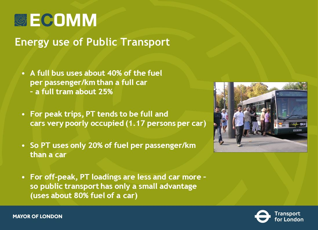 Energy use of Public Transport A full bus uses about 40% of the fuel per passenger/km than a full car – a full tram about 25% For peak trips, PT tends to be full and cars very poorly occupied (1.17 persons per car) So PT uses only 20% of fuel per passenger/km than a car For off-peak, PT loadings are less and car more – so public transport has only a small advantage (uses about 80% fuel of a car)