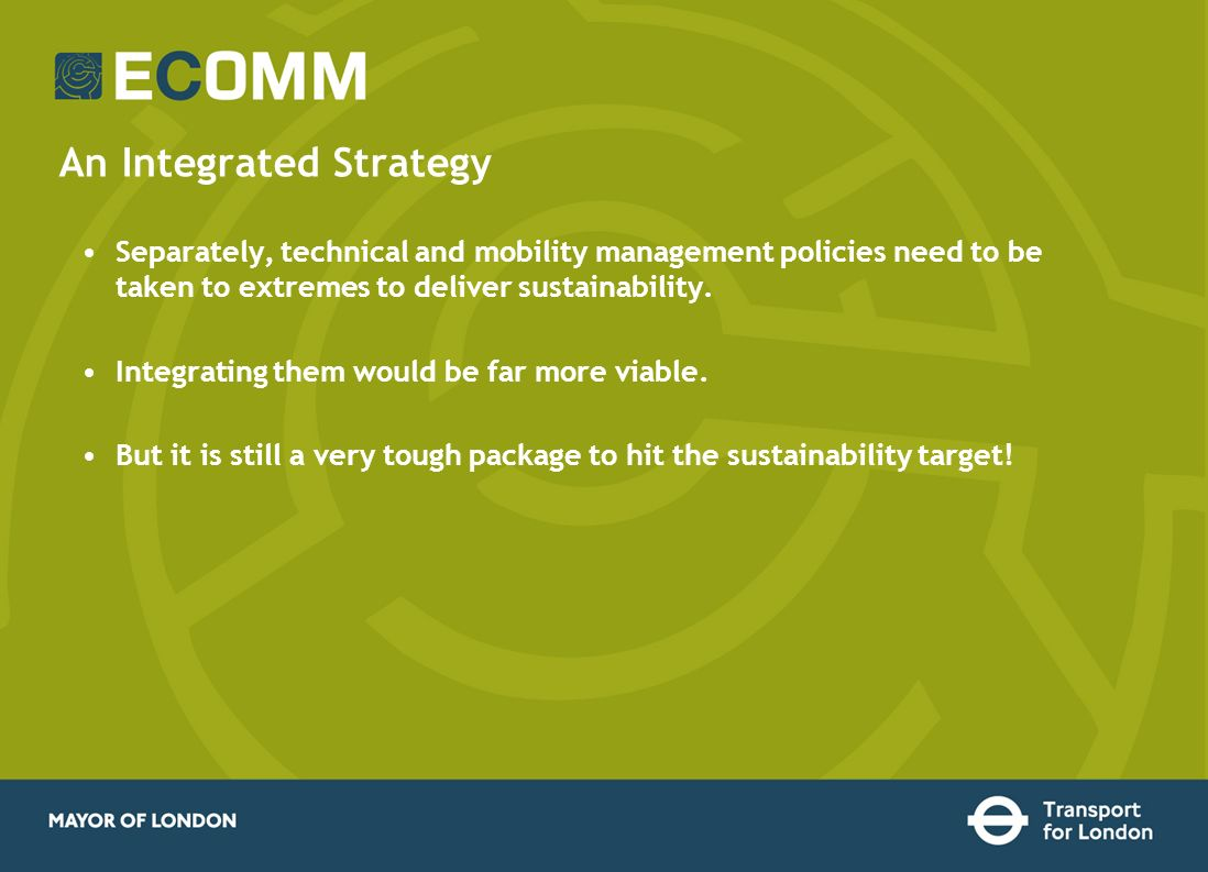An Integrated Strategy Separately, technical and mobility management policies need to be taken to extremes to deliver sustainability. Integrating them