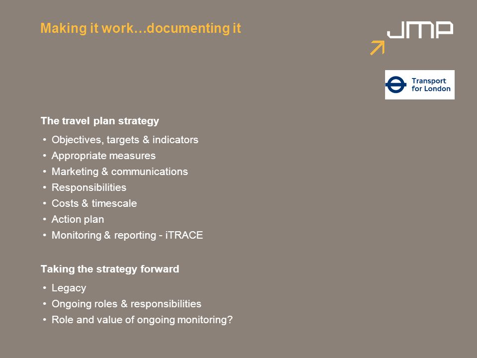 Making it work…documenting it The travel plan strategy Objectives, targets & indicators Appropriate measures Marketing & communications Responsibiliti