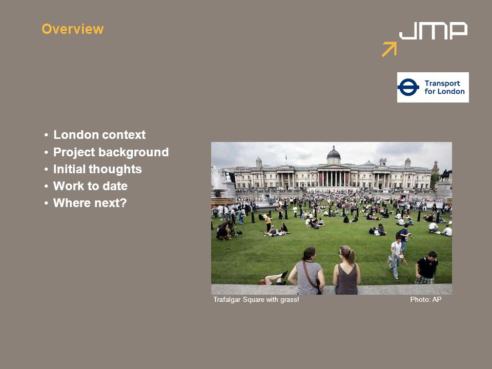 Overview London context Project background Initial thoughts Work to date Where next? Trafalgar Square with grass!Photo: AP