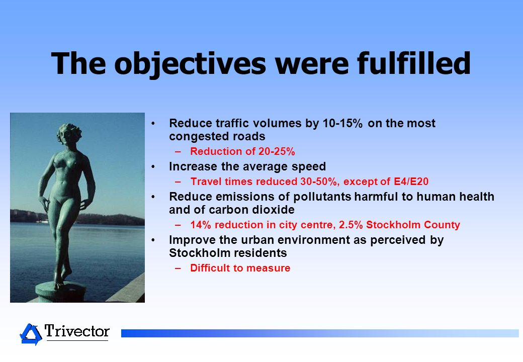 The objectives were fulfilled Reduce traffic volumes by 10-15% on the most congested roads –Reduction of 20-25% Increase the average speed –Travel times reduced 30-50%, except of E4/E20 Reduce emissions of pollutants harmful to human health and of carbon dioxide –14% reduction in city centre, 2.5% Stockholm County Improve the urban environment as perceived by Stockholm residents –Difficult to measure