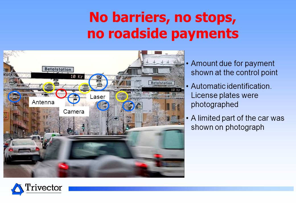 No barriers, no stops, no roadside payments Amount due for payment shown at the control point Automatic identification.