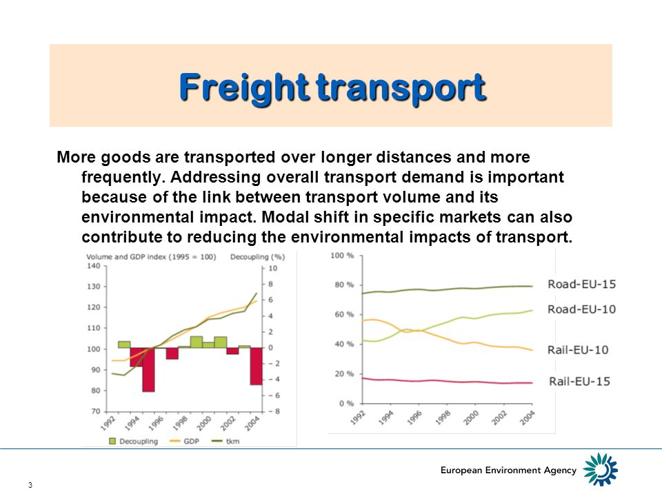3 Freight transport More goods are transported over longer distances and more frequently.