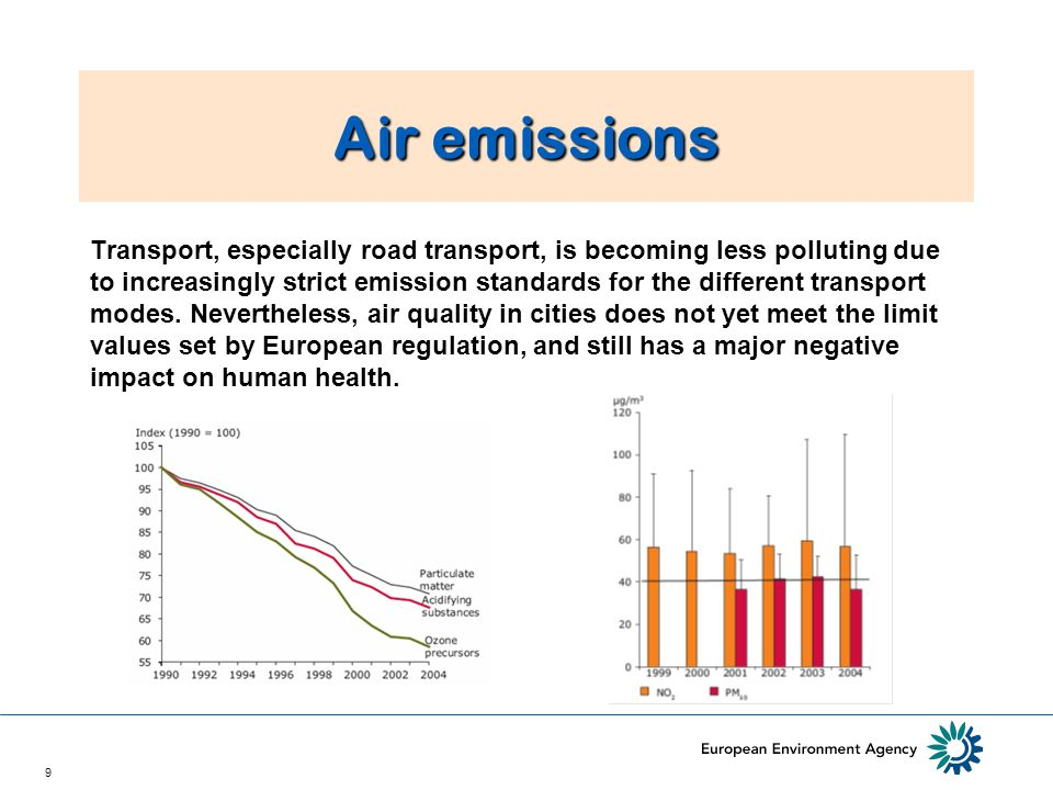 9 Air emissions Transport, especially road transport, is becoming less polluting due to increasingly strict emission standards for the different transport modes.