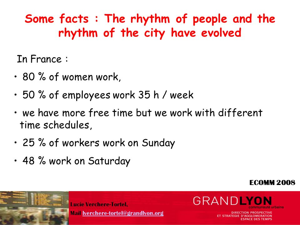 ECOMM 2008 new rhythms, new services for all, new dialogue for a sustainable environment Lucie Verchere-Tortel, Mail lverchere-tortel@grandlyon.orglverchere-tortel@grandlyon.org