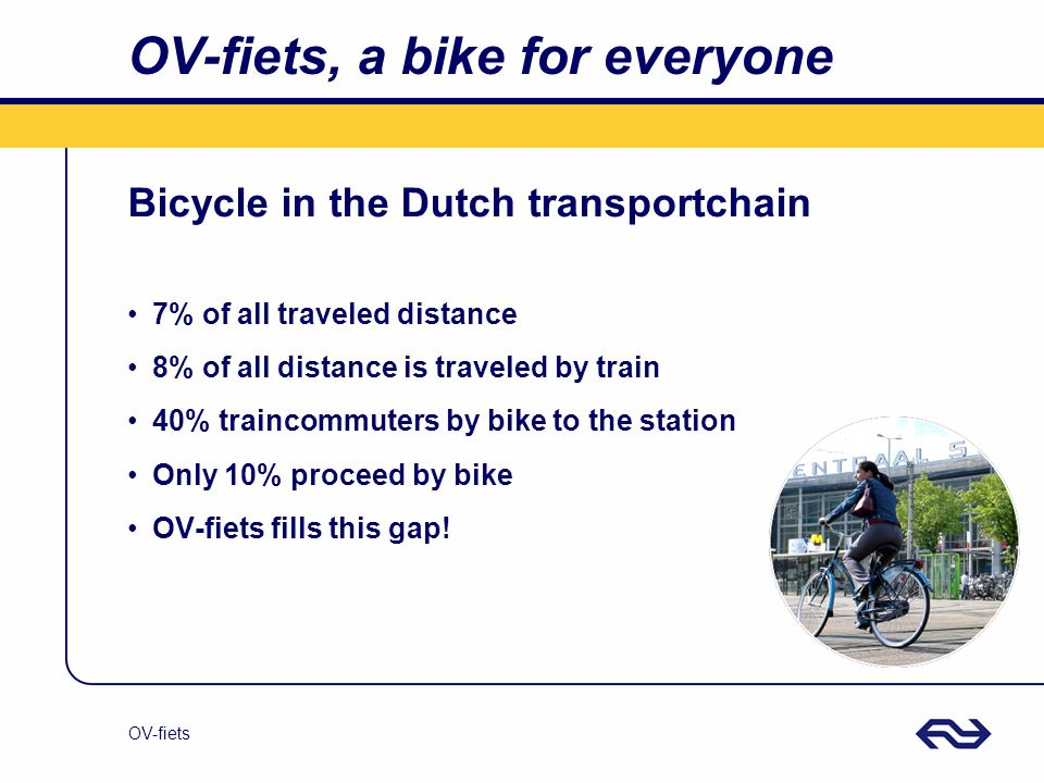 OV-fiets OV-fiets, a bike for everyone Bicycle in the Dutch transportchain 7% of all traveled distance 8% of all distance is traveled by train 40% tra