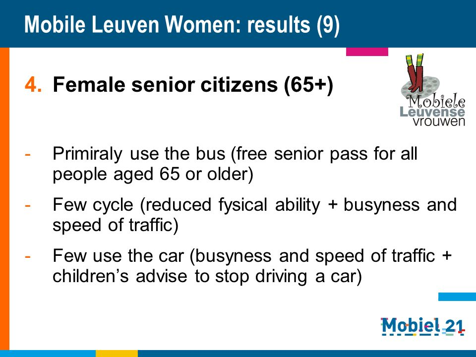 Mobile Leuven Women: results (9) 4.Female senior citizens (65+) -Primiraly use the bus (free senior pass for all people aged 65 or older) -Few cycle (