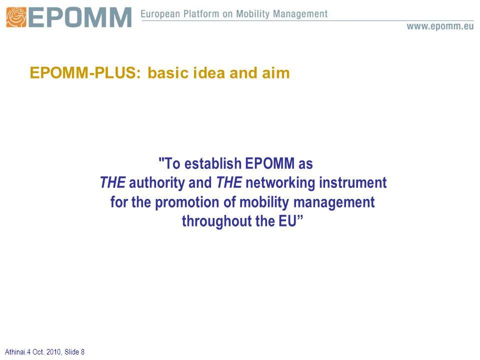 Athinai.4 Oct. 2010, Slide 8 EPOMM-PLUS: basic idea and aim