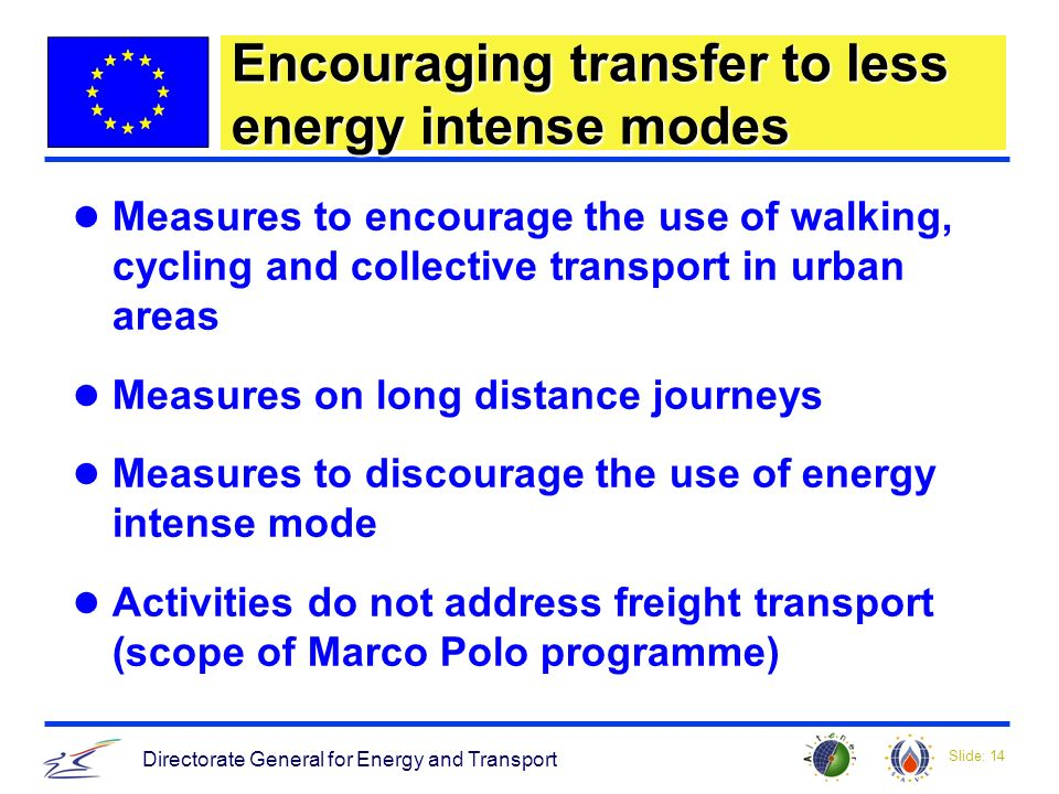 Slide: 14 Directorate General for Energy and Transport Encouraging transfer to less energy intense modes Measures to encourage the use of walking, cycling and collective transport in urban areas Measures on long distance journeys Measures to discourage the use of energy intense mode Activities do not address freight transport (scope of Marco Polo programme)