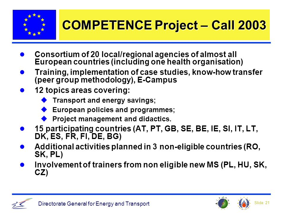 Slide: 21 Directorate General for Energy and Transport COMPETENCE Project – Call 2003 Consortium of 20 local/regional agencies of almost all European countries (including one health organisation) Training, implementation of case studies, know-how transfer (peer group methodology), E-Campus 12 topics areas covering: uTransport and energy savings; uEuropean policies and programmes; uProject management and didactics.