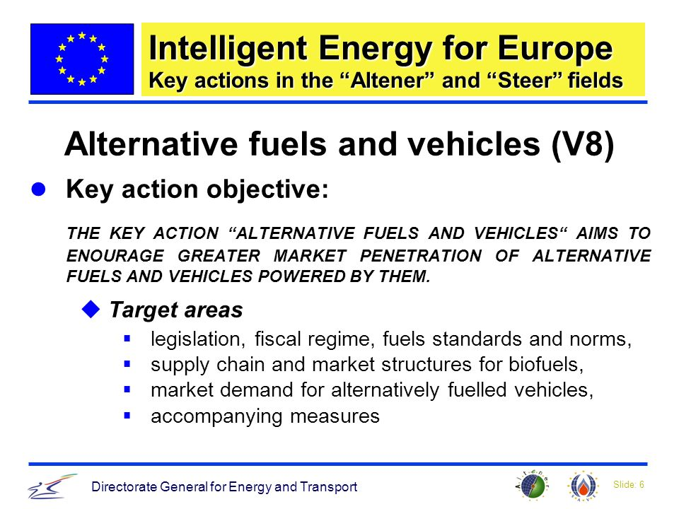 Slide: 6 Directorate General for Energy and Transport Intelligent Energy for Europe Key actions in the Altener and Steer fields Alternative fuels and vehicles (V8) Key action objective: THE KEY ACTION ALTERNATIVE FUELS AND VEHICLES AIMS TO ENOURAGE GREATER MARKET PENETRATION OF ALTERNATIVE FUELS AND VEHICLES POWERED BY THEM.