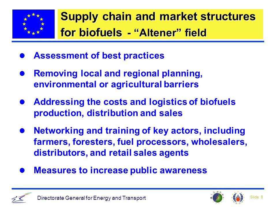 Slide: 8 Directorate General for Energy and Transport Supply chain and market structures for biofuels - Altener field Assessment of best practices Removing local and regional planning, environmental or agricultural barriers Addressing the costs and logistics of biofuels production, distribution and sales Networking and training of key actors, including farmers, foresters, fuel processors, wholesalers, distributors, and retail sales agents Measures to increase public awareness