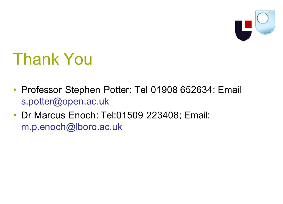 Thank You Professor Stephen Potter: Tel 01908 652634: Email s.potter@open.ac.uk Dr Marcus Enoch: Tel:01509 223408; Email: m.p.enoch@lboro.ac.uk