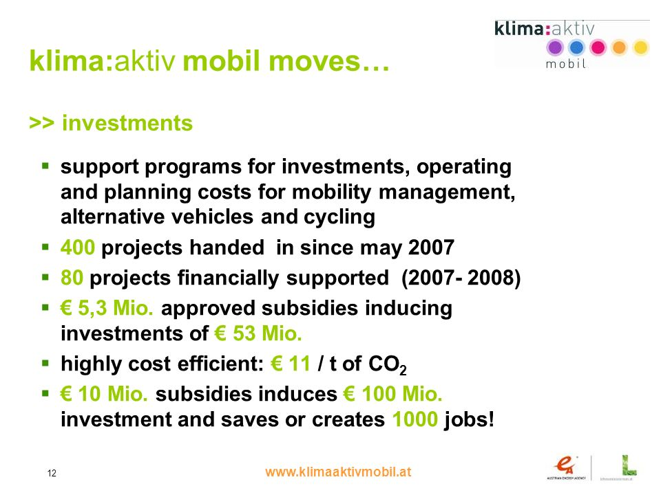www.klimaaktivmobil.at 12 klima:aktiv mobil moves… >> investments support programs for investments, operating and planning costs for mobility management, alternative vehicles and cycling 400 projects handed in since may 2007 80 projects financially supported (2007- 2008) 5,3 Mio.