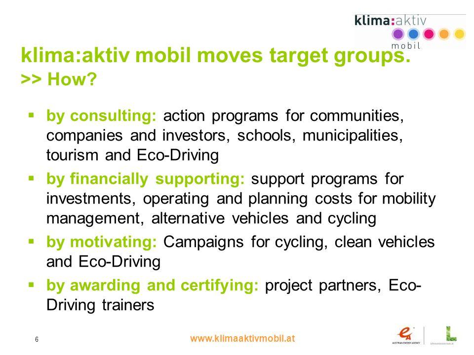 www.klimaaktivmobil.at 6 klima:aktiv mobil moves target groups.