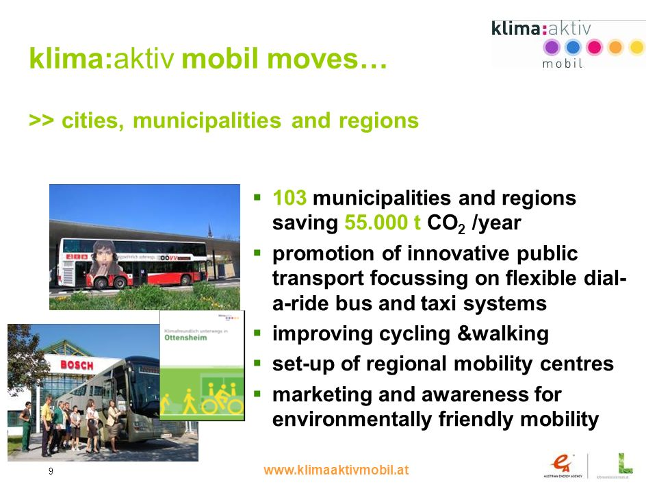 www.klimaaktivmobil.at 9 klima:aktiv mobil moves… >> cities, municipalities and regions 103 municipalities and regions saving 55.000 t CO 2 /year promotion of innovative public transport focussing on flexible dial- a-ride bus and taxi systems improving cycling &walking set-up of regional mobility centres marketing and awareness for environmentally friendly mobility
