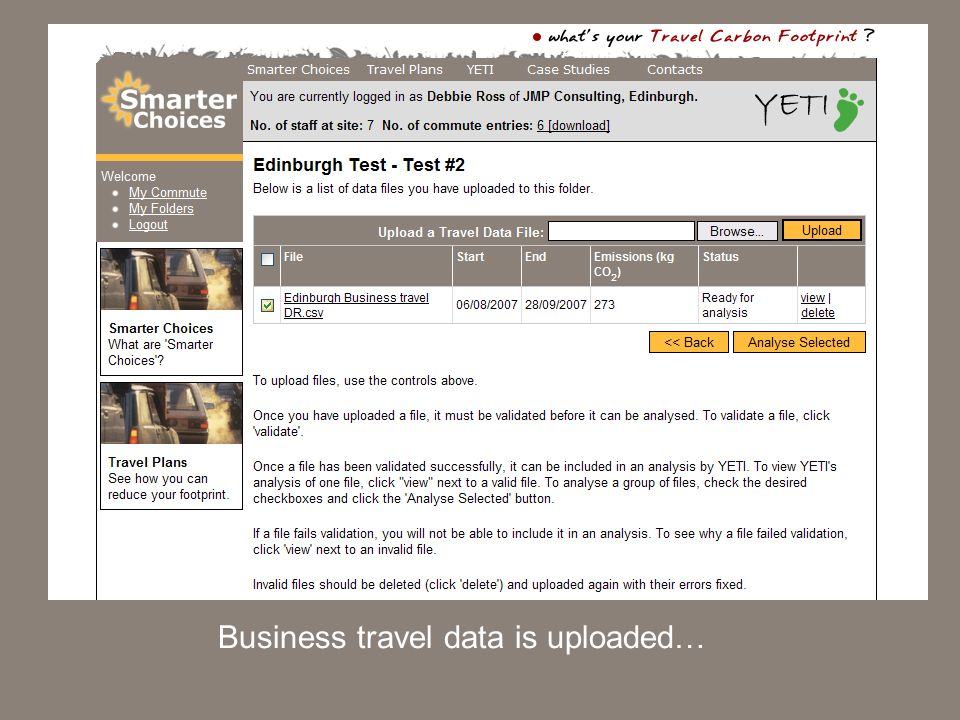 Business travel data is uploaded…