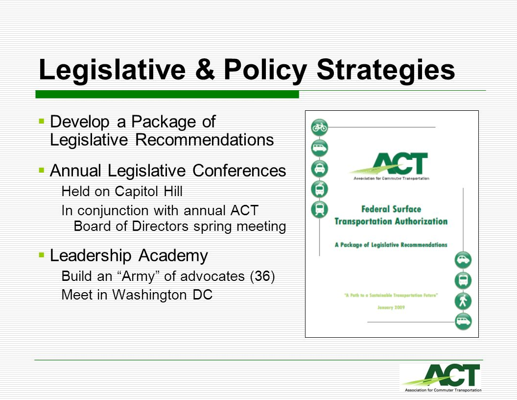 Legislative & Policy Strategies Develop a Package of Legislative Recommendations Annual Legislative Conferences Held on Capitol Hill In conjunction wi