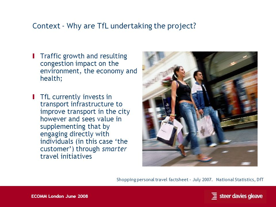 ECOMM London June 2008 Context - Why are TfL undertaking the project? Ι Traffic growth and resulting congestion impact on the environment, the economy