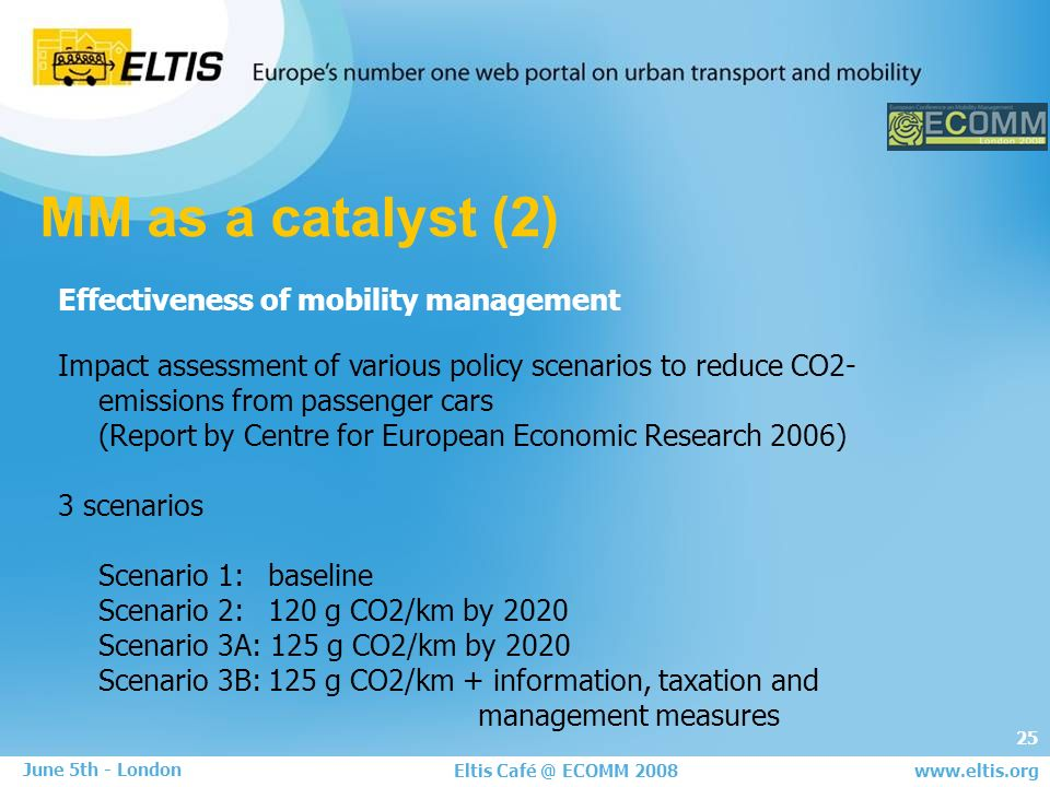 25 Eltis Café @ ECOMM 2008 June 5th - London www.eltis.org MM as a catalyst (2) Effectiveness of mobility management Impact assessment of various policy scenarios to reduce CO2- emissions from passenger cars (Report by Centre for European Economic Research 2006) 3 scenarios Scenario 1:baseline Scenario 2: 120 g CO2/km by 2020 Scenario 3A: 125 g CO2/km by 2020 Scenario 3B:125 g CO2/km + information, taxation and management measures