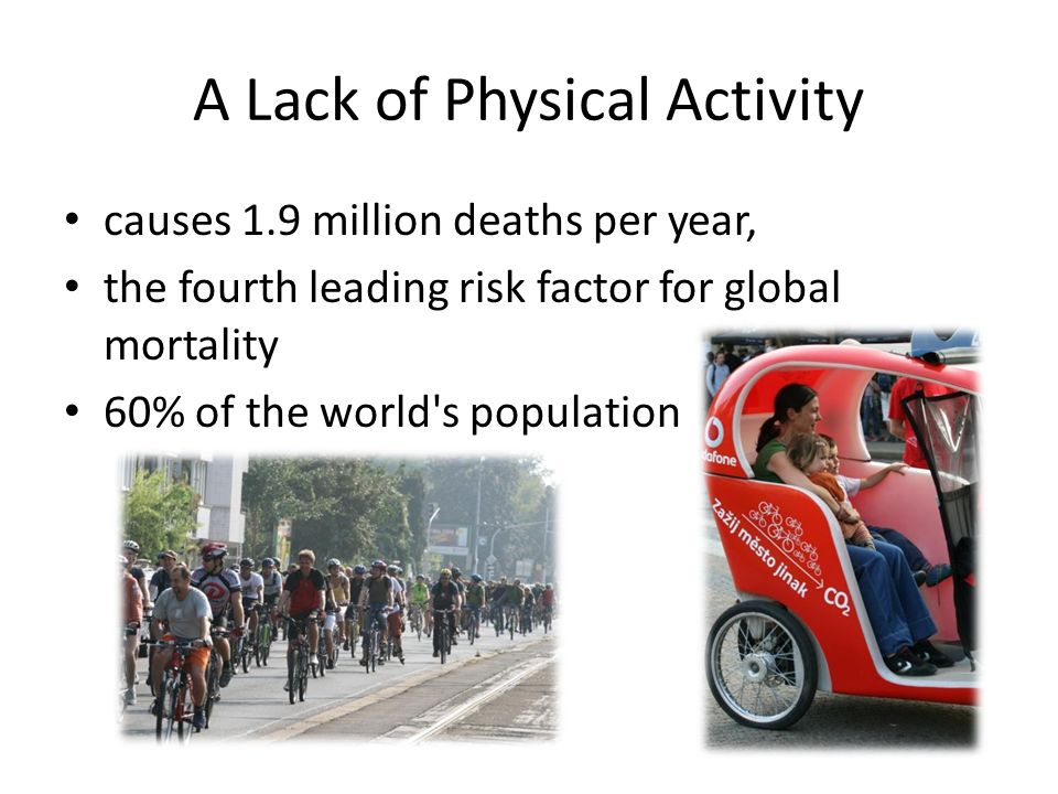 A Lack of Physical Activity causes 1.9 million deaths per year, the fourth leading risk factor for global mortality 60% of the world s population