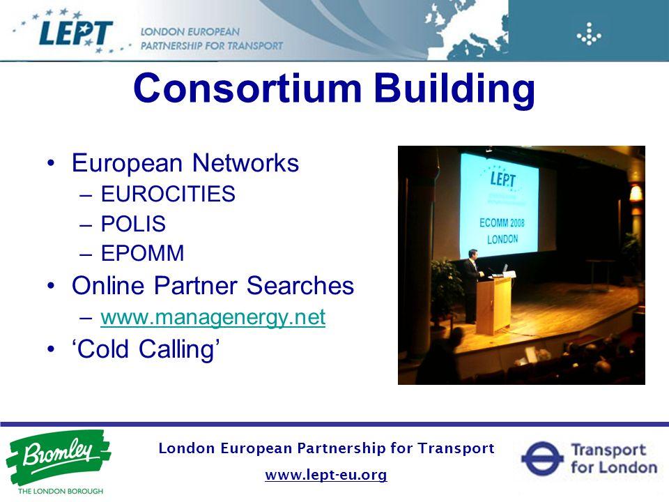 Consortium Building European Networks –EUROCITIES –POLIS –EPOMM Online Partner Searches –www.managenergy.netwww.managenergy.net Cold Calling London Eu