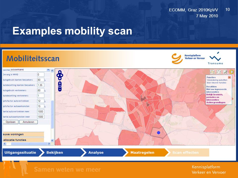 ECOMM, Graz 2010KpVV 10 7 May 2010 Examples mobility scan o Analyse